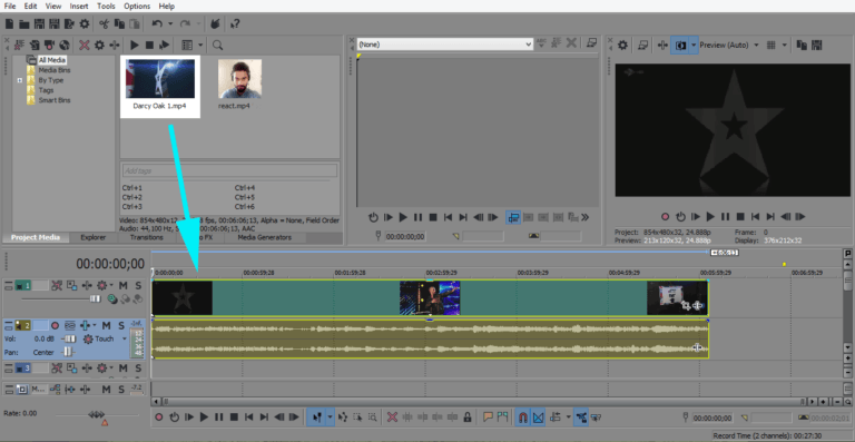 Vegas Pro drag video in timeline