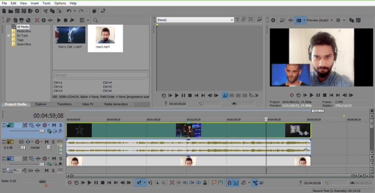Vegas Pro positioning the video