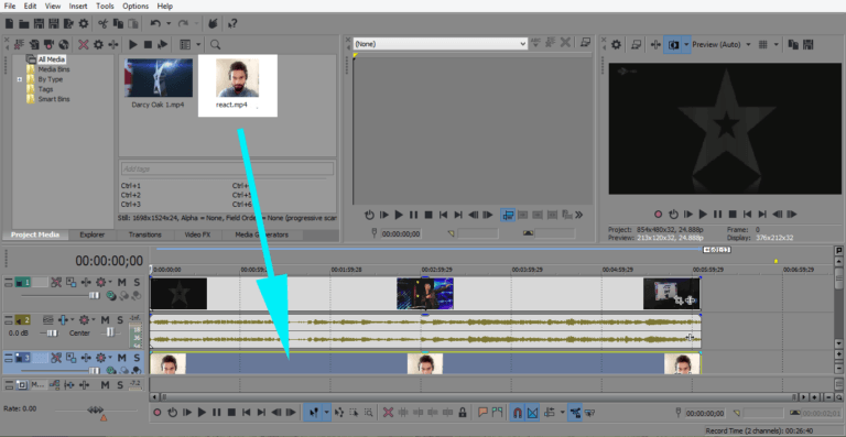 Vegas Pro drag another video in timeline