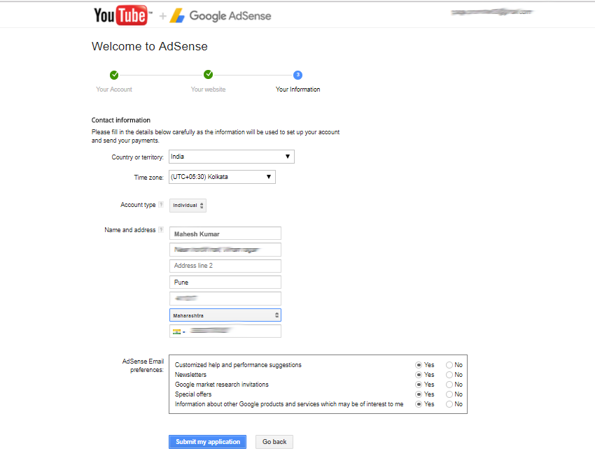 Adsense submit application page