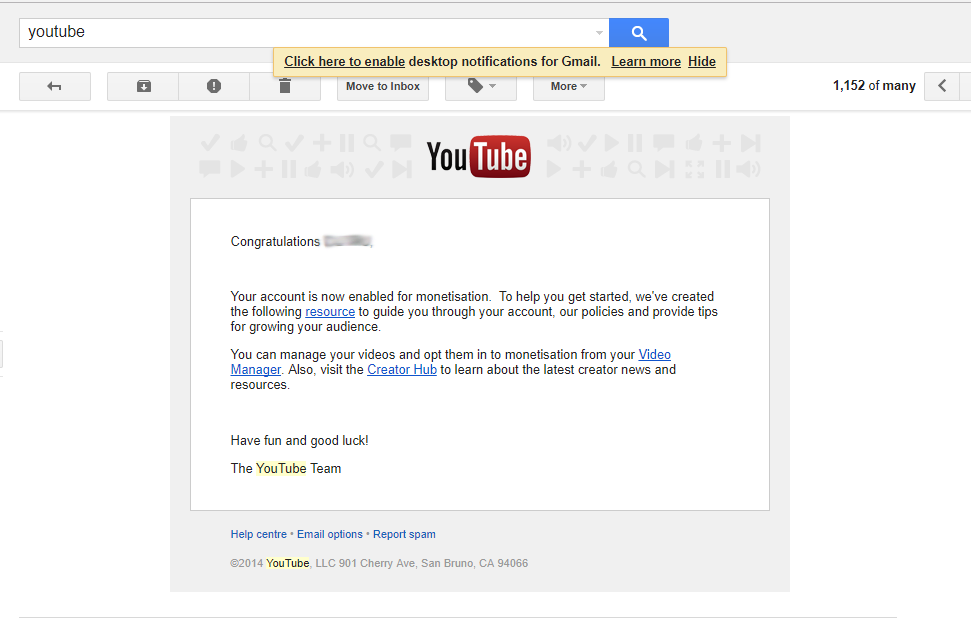 YouTube monetization acceptance e-mail