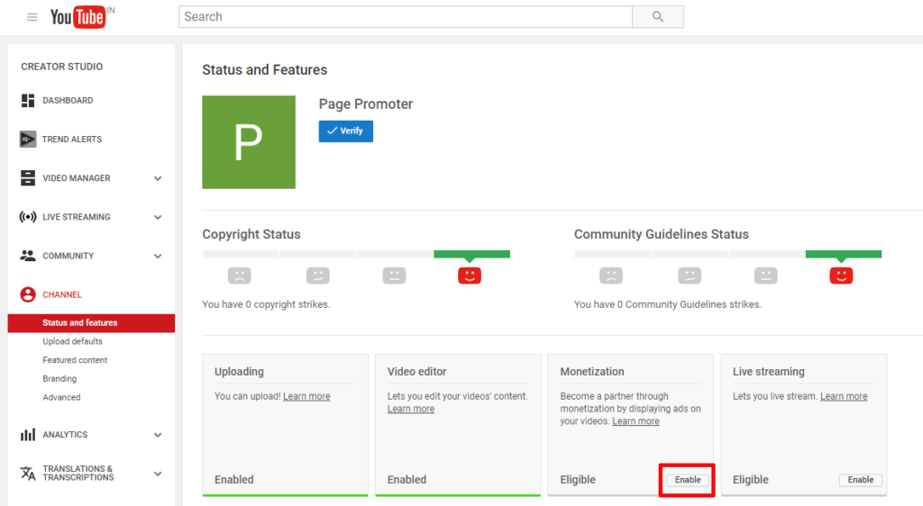 YouTube status & feature page