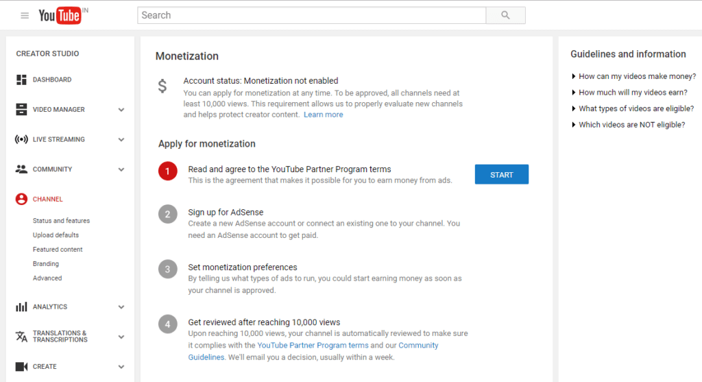 YouTube monetization page