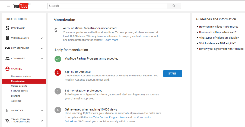 YouTube monetization page 2