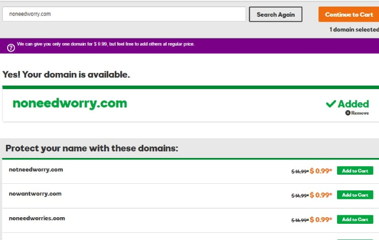 GoDaddy domain availability page