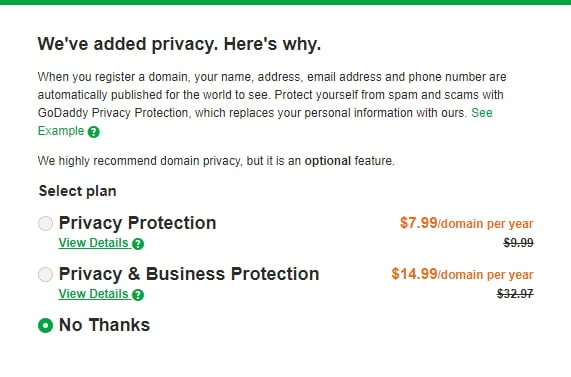 GoDaddy Privacy protection page
