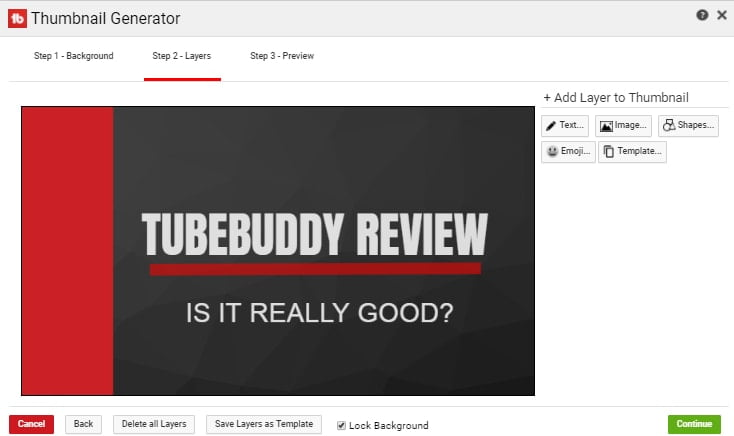 Making Thumbnail in Tubebuddy