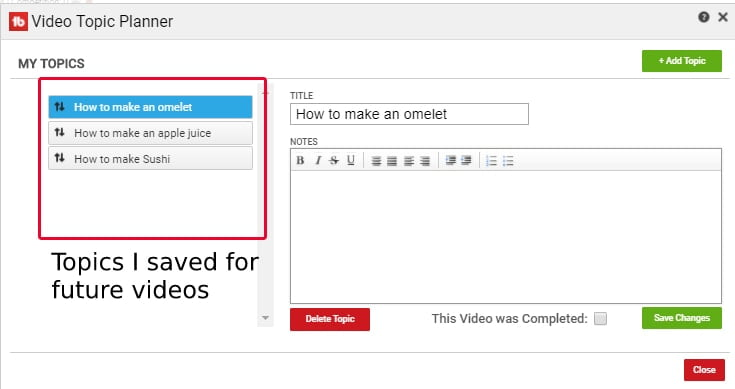 Video Topic Planner feature