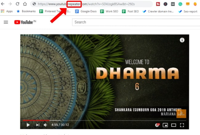 Adding repeater code in YouTube video URL