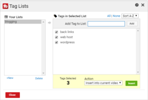 Tag List feature