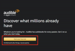 This is Amazon Audible sign up page