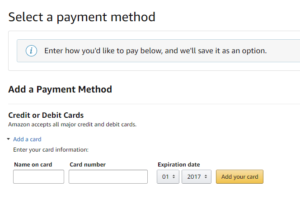 This is Audible payment method page