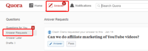 This is Quora answer request section