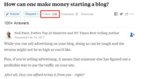 This is Quora question follow