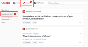 This is Quora questions for you section