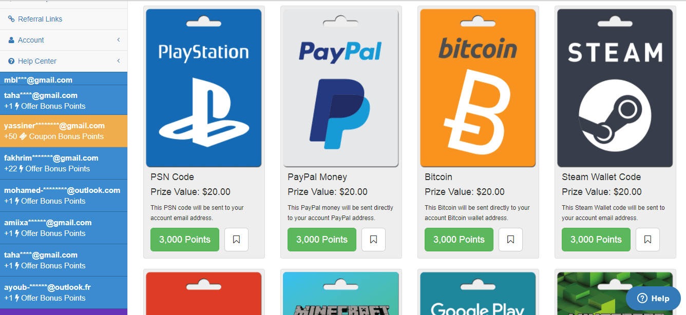 Pointsprizes payment method