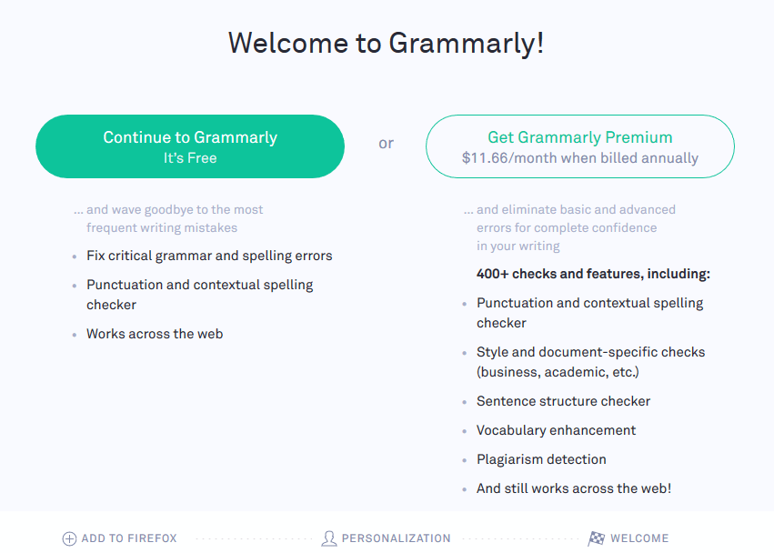welcome to Grammarly screen
