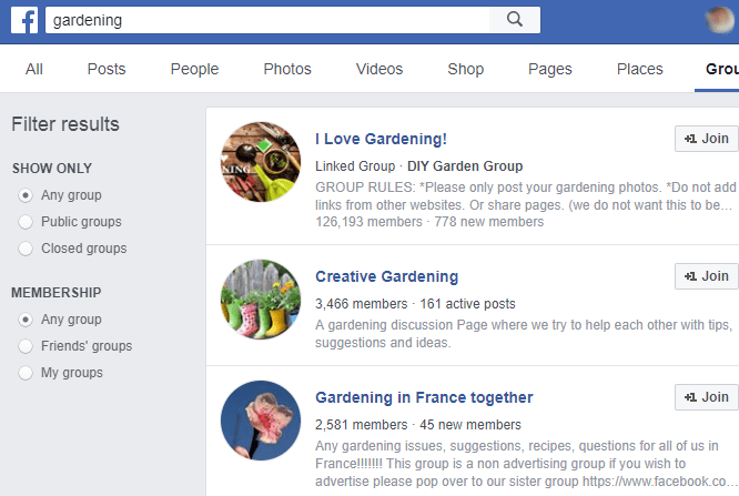 Facebook groups for niche