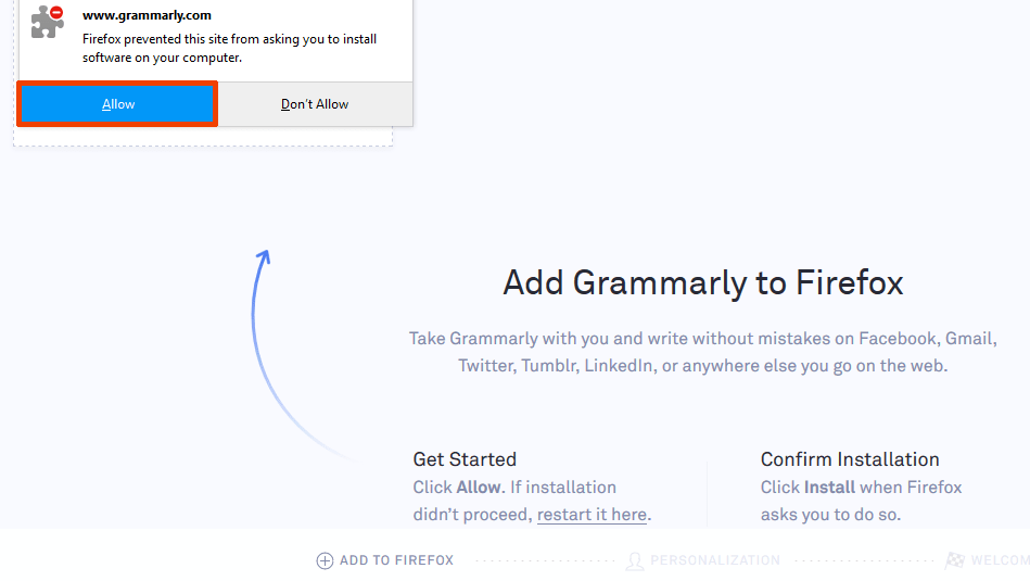Grammarly add-on screen