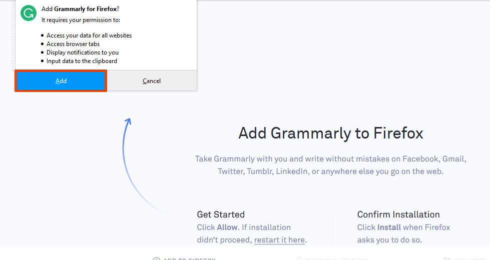 Grammarly browser extension 2