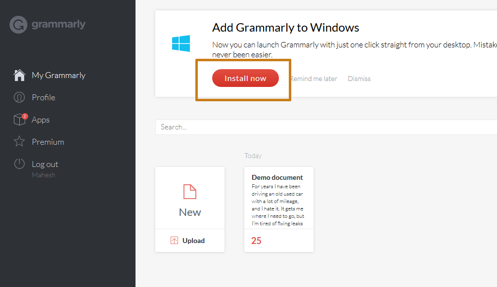 Grammarly dashboard install button