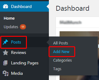 Wordpress add new post option