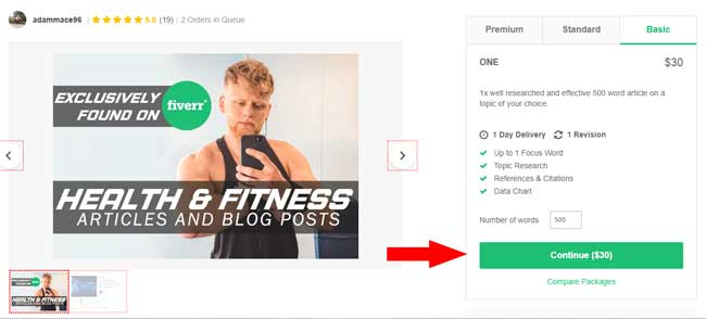 Fiverr sign-up page