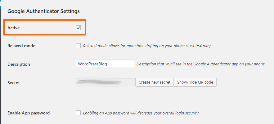 Google authenticator active option