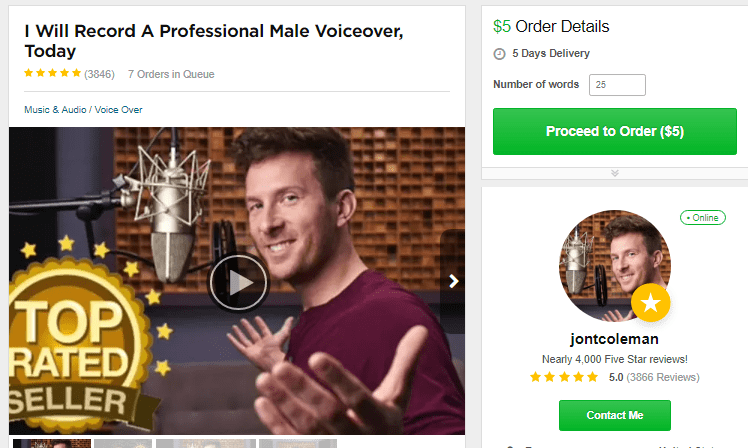 Voice over fiverr gigs
