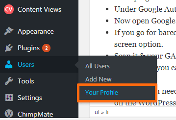 Wordpress dashboard your profile option