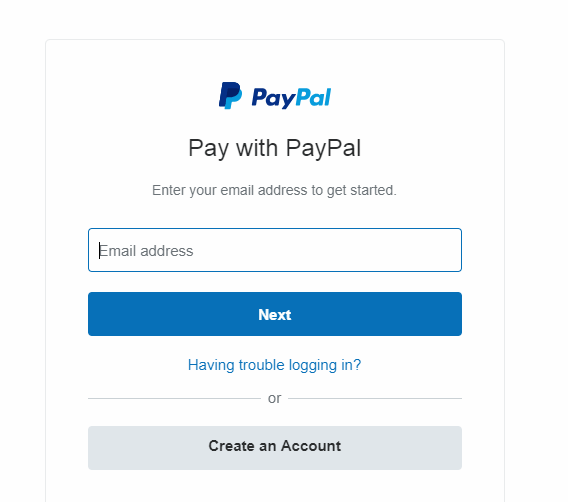 Box to enter PayPal email address
