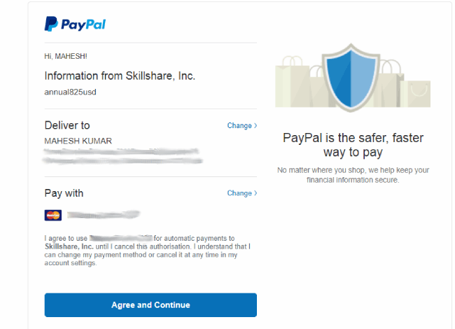 Skillshare sign-up details review page
