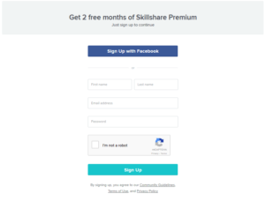 Skillshare sign up box