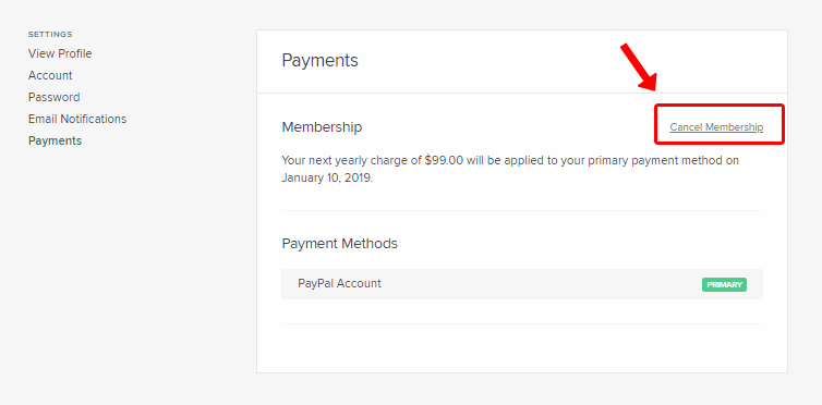 Skillshare cancel membership page