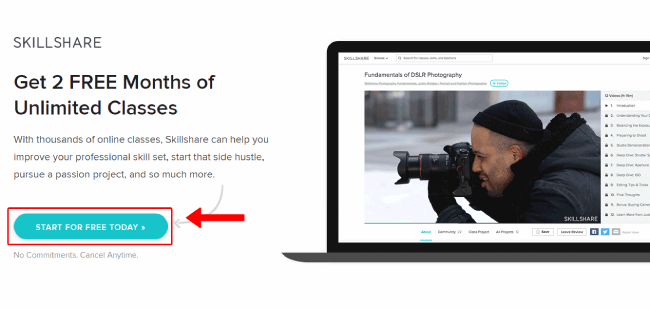 Skillshare sign-up page