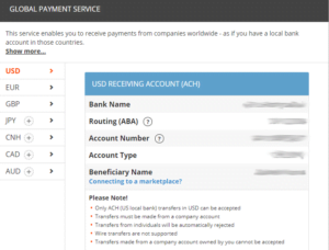 Payoneer global payment service page