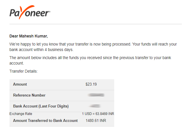 E-mail for Payoneer payment transferred to local bank account
