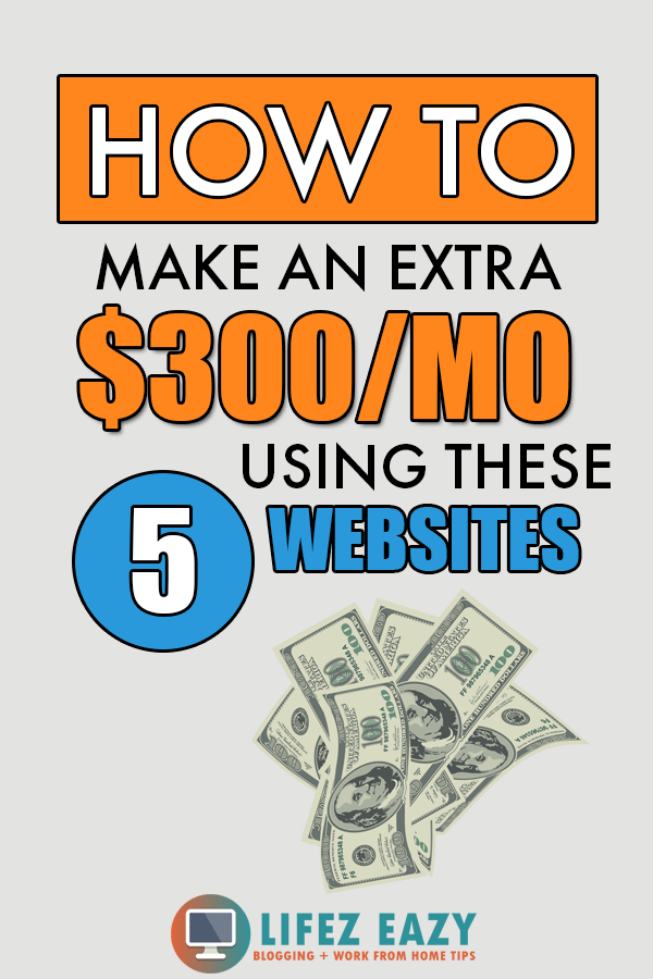 5 Websites to make money Pinterest Pin