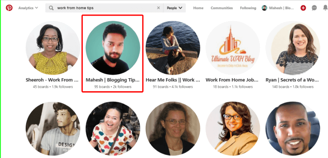 Pinterest profile ranking for Work from home tips keyword