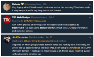 This is Siteground user opinion tweets