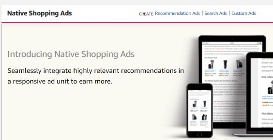 This is Amazon Native Ads website