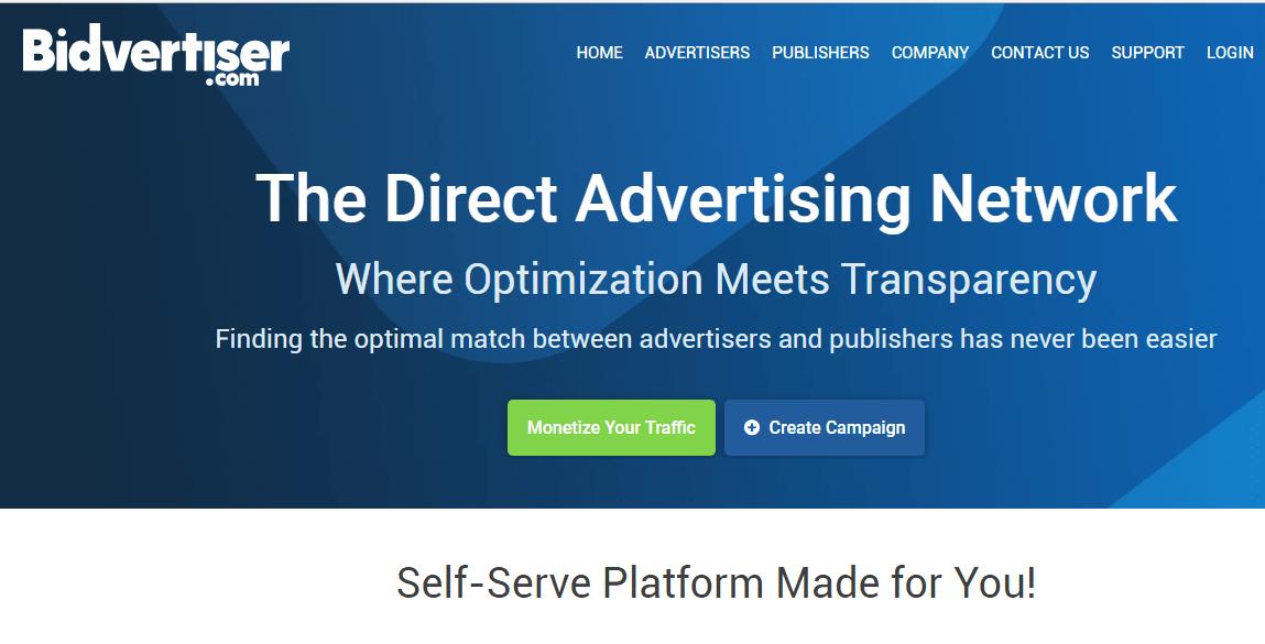 This is BidVertiser website