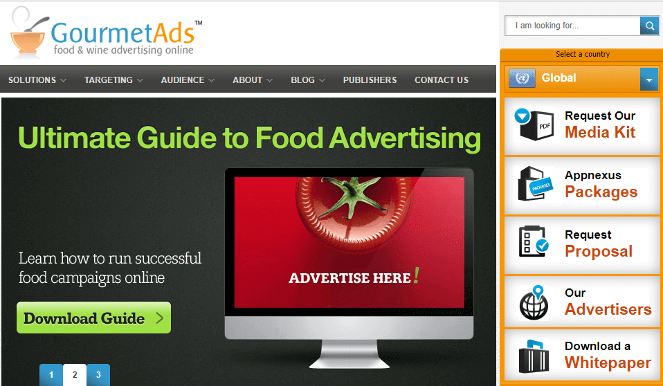 This is Gourmet Ads website