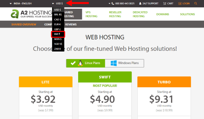 A2hosting change currency option
