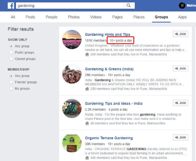 List of Facebook groups related to niche