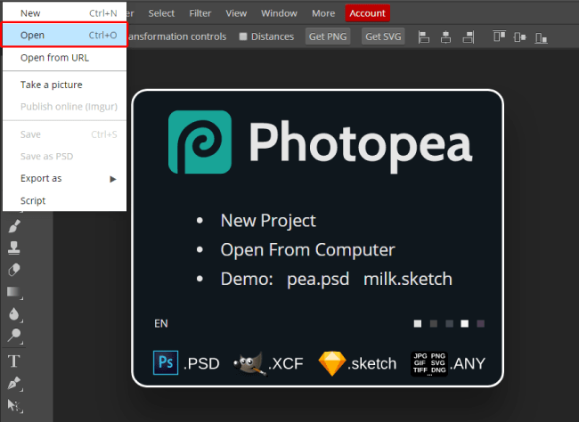Photopea open option
