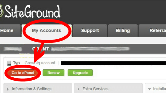 This is Siteground dashboard accounts tab