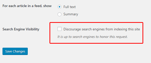This is a screenshot of WordPress search engine visibility option