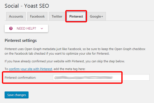 Yoast Pinterest confirmation page