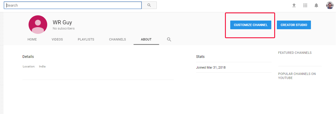 Youtube customize channel button